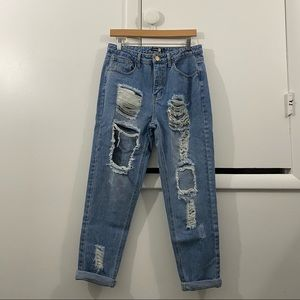 Boohoo Blue High Rise Distressed Jeans Size 8